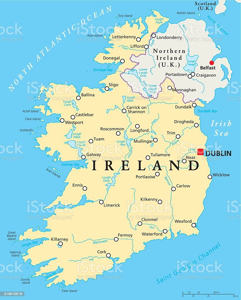 Ireland Political Map vector art illustration