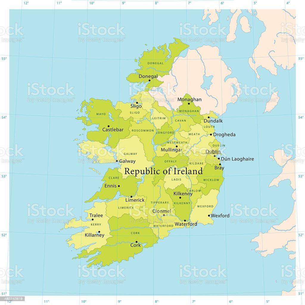 Ireland Vector Map vector art illustration