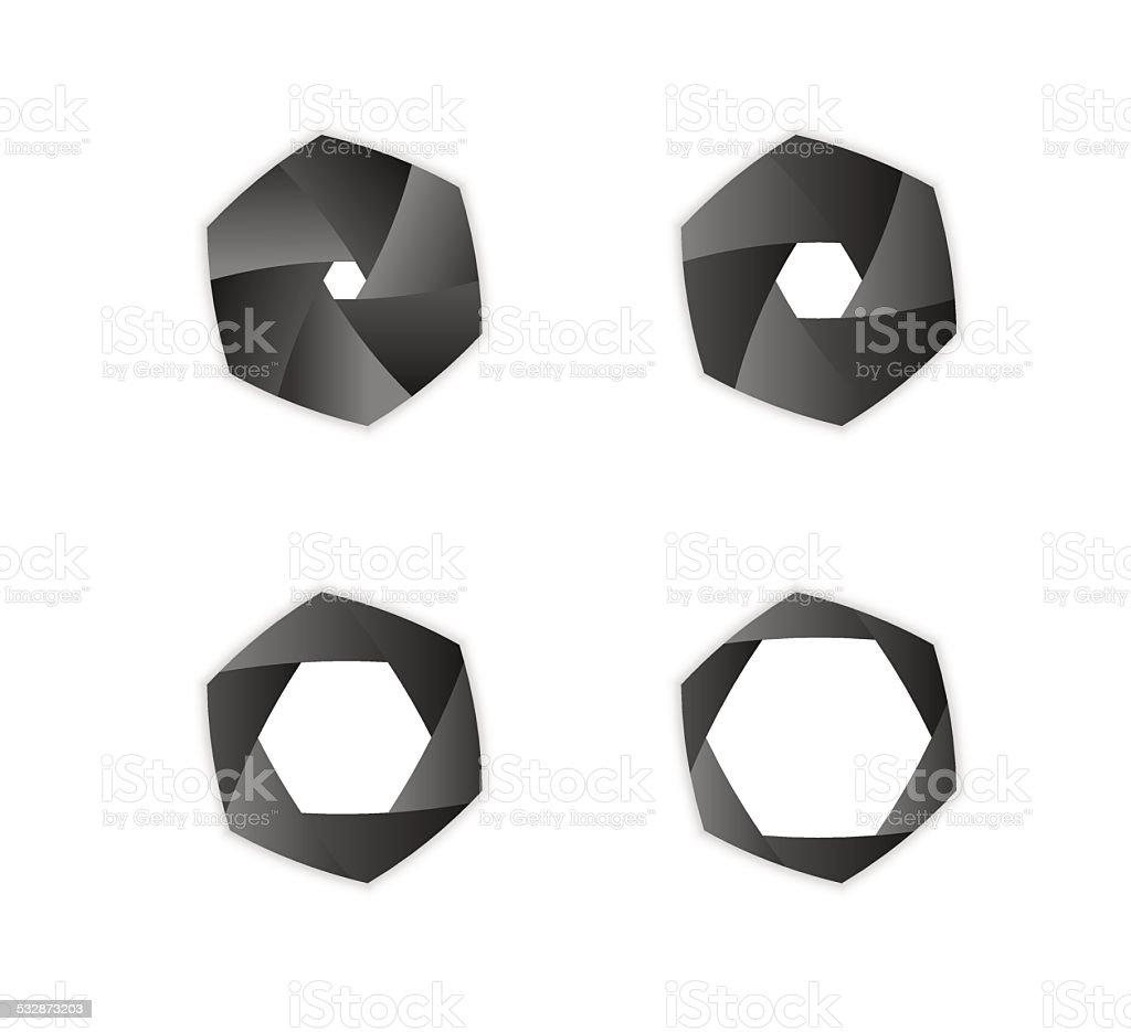 iris diaphragm camera shutter vector art illustration