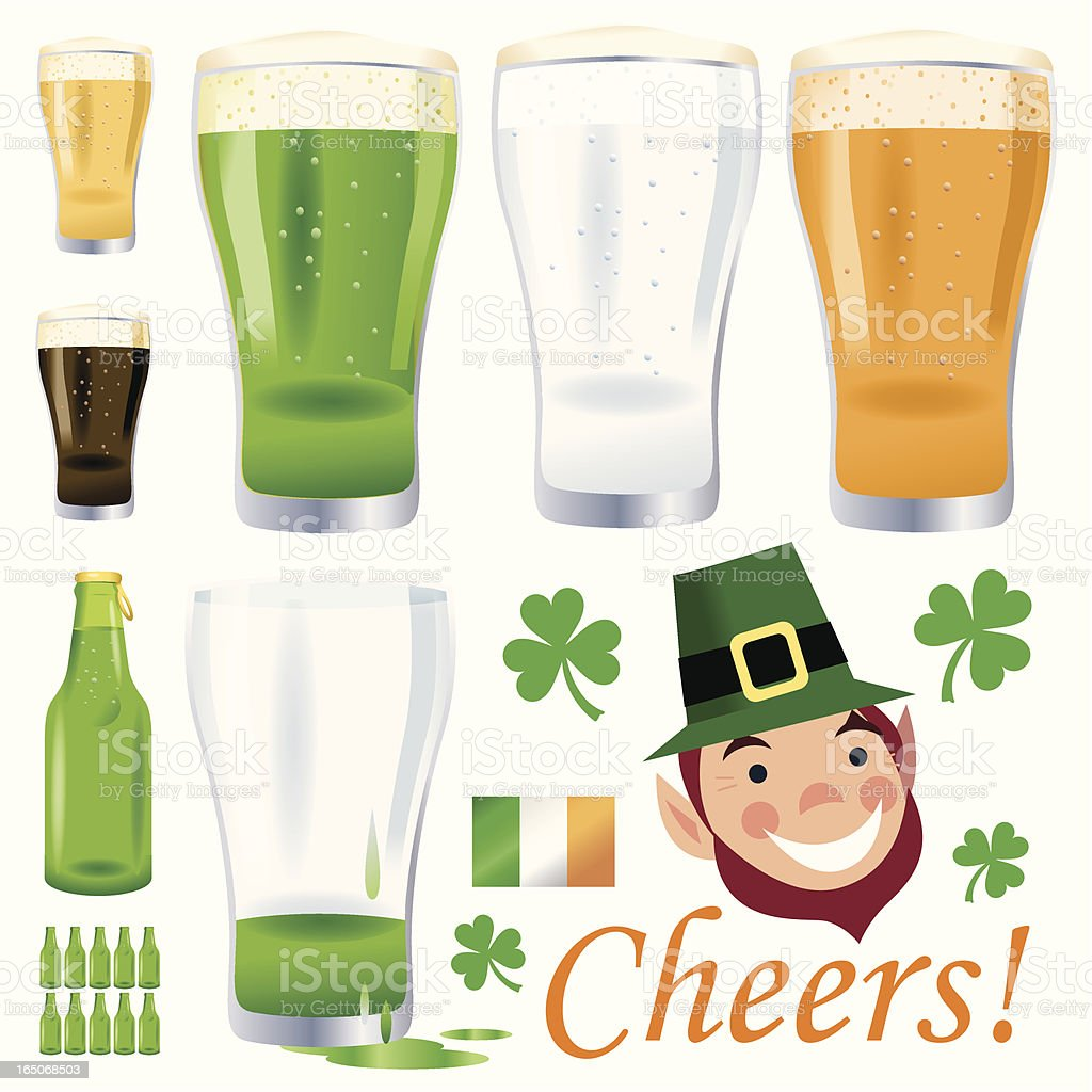 Irish Beer and Ten Green Bottles vector art illustration