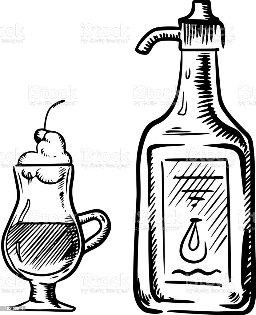 Irish coffee sketch with bottle of cream vector art illustration