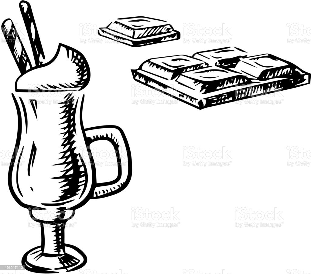Irish coffee with waffle and chocolate bar vector art illustration
