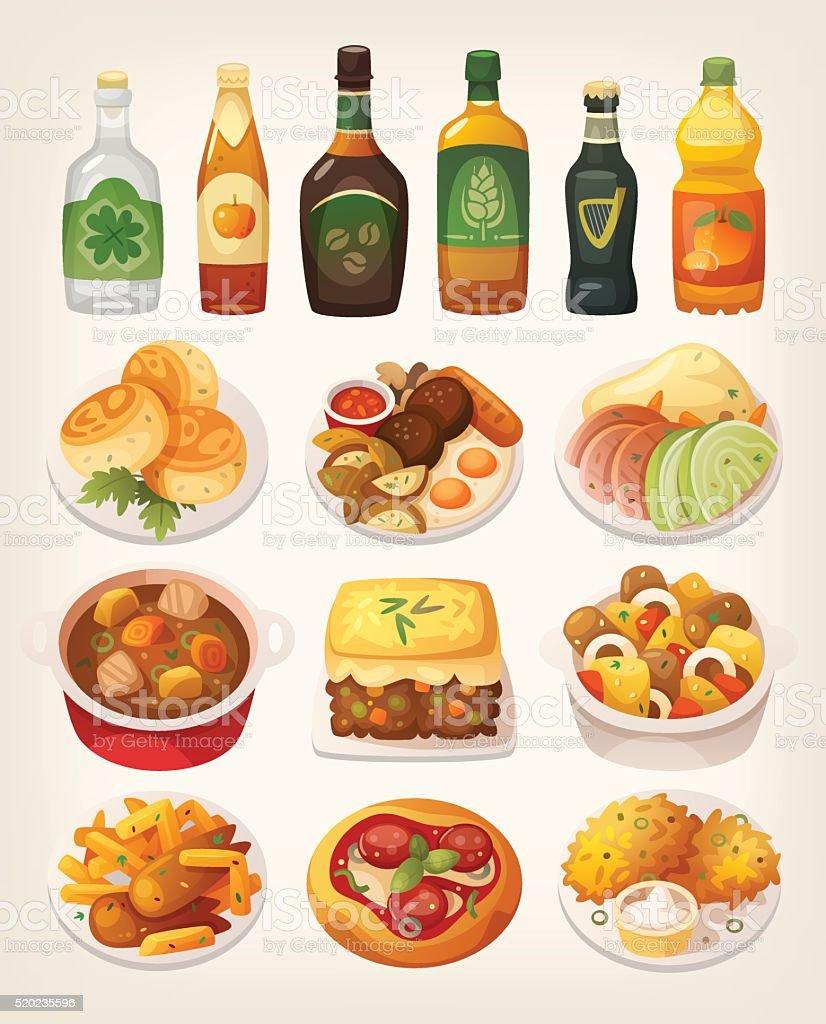 Irish cuisine vector art illustration