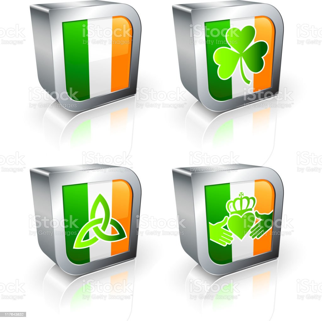 Irish culture 3D royalty free vector icon set royalty-free stock vector art