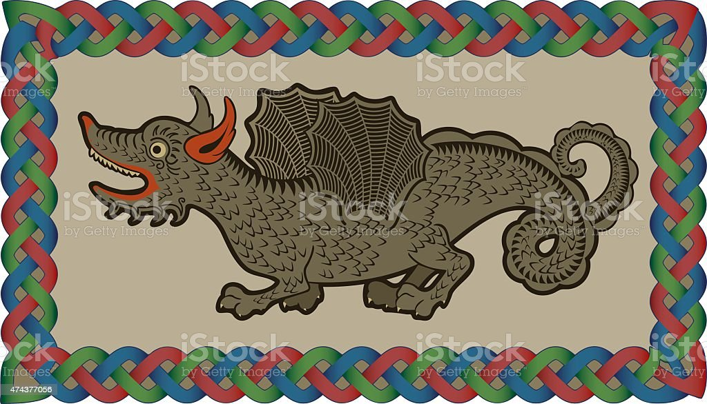 Irish dragon vector art illustration