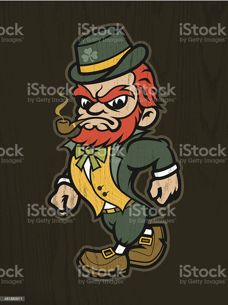 Irish Fighting Leprechaun Mascot royalty-free stock vector art