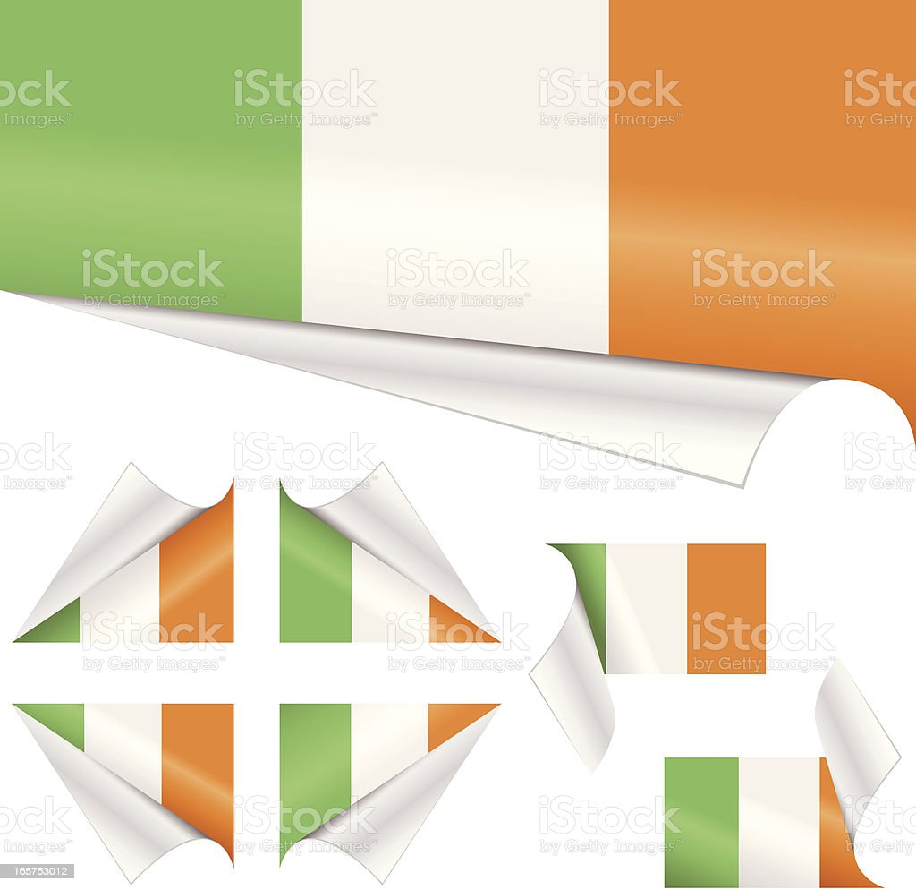 Irish Flags behind Curled Paper vector art illustration