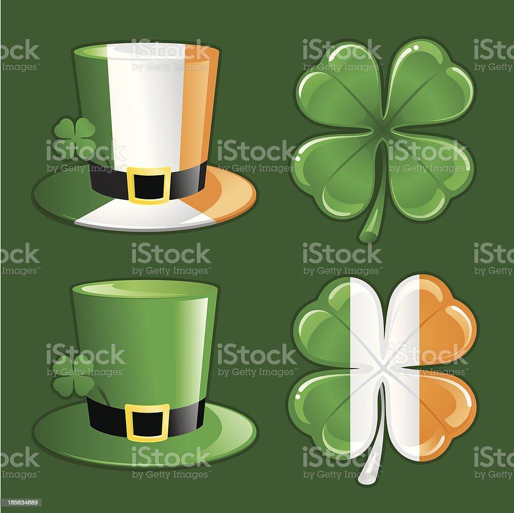 Irish hat and clover royalty-free stock vector art
