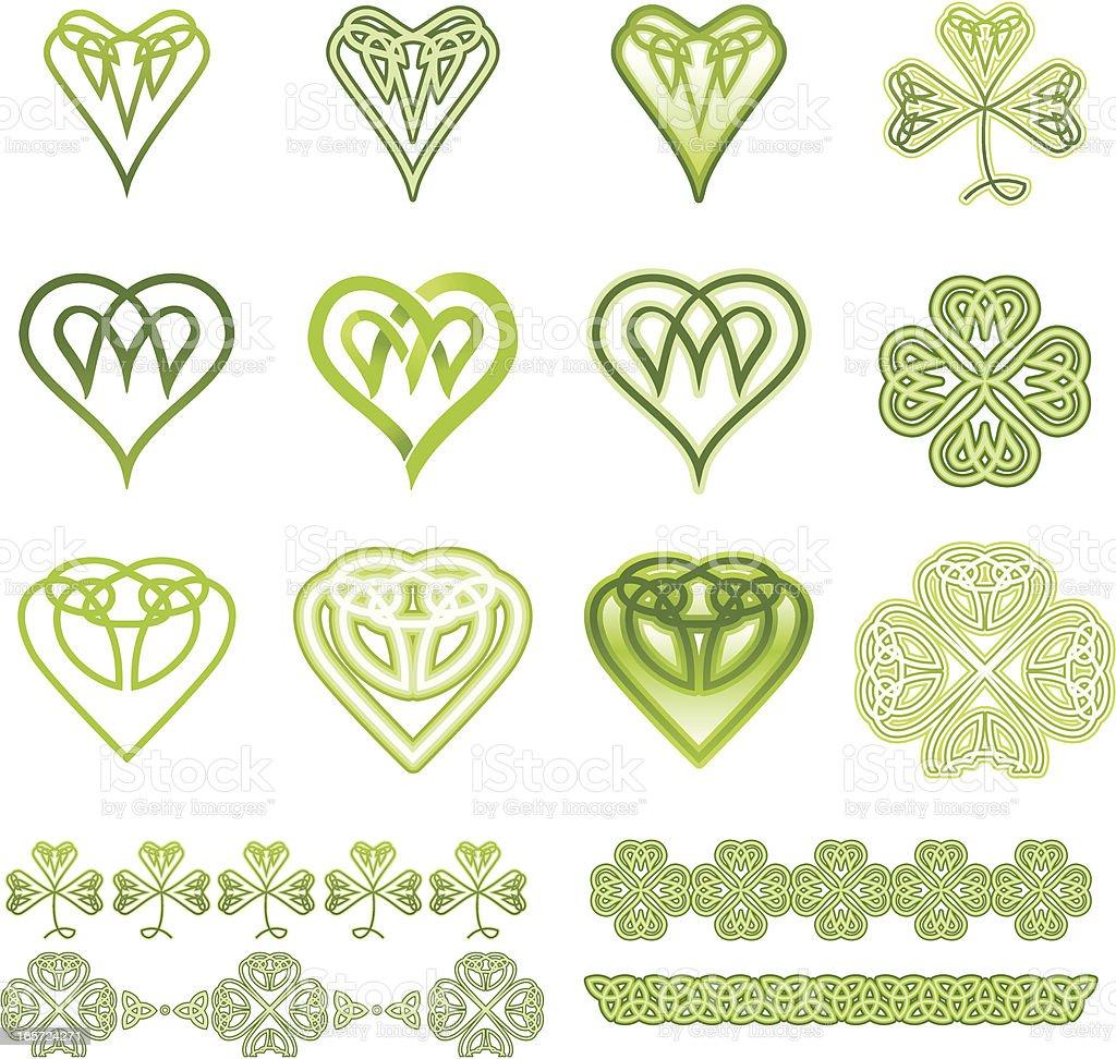 Irish Hearts and Clovers Set royalty-free stock vector art