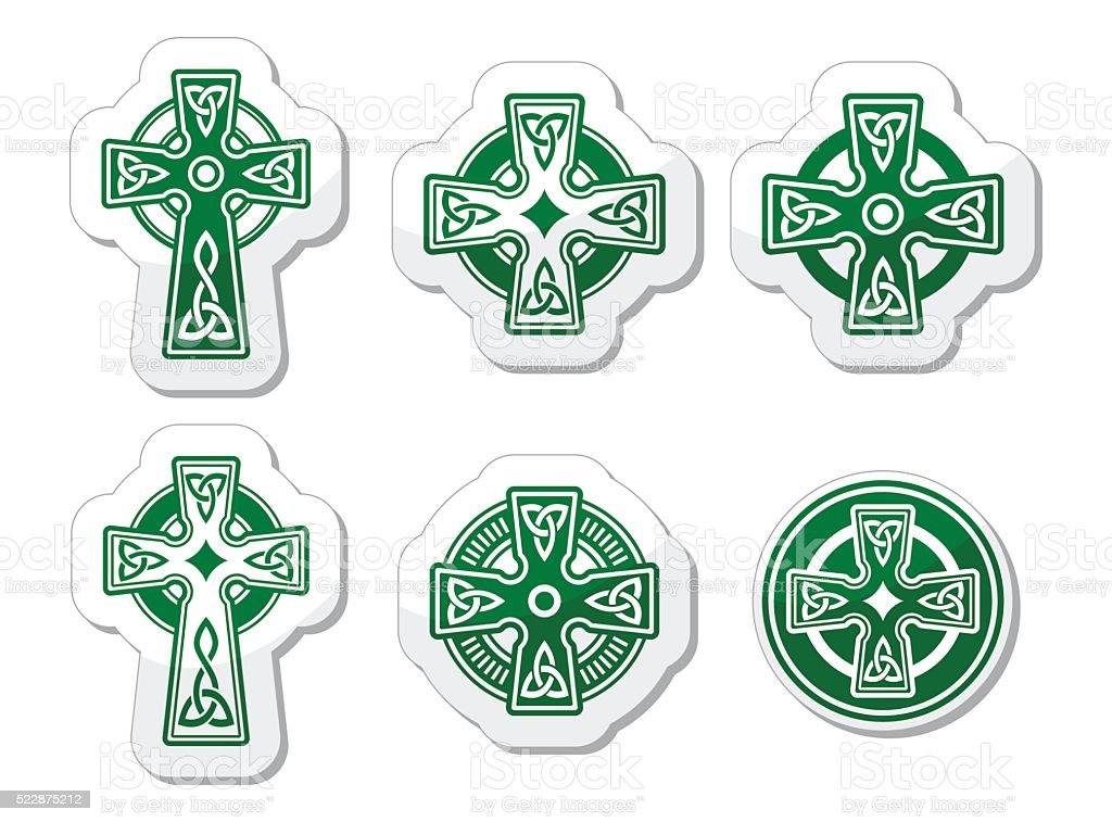 Irish, Scottish Celtic cross on white vector sign vector art illustration