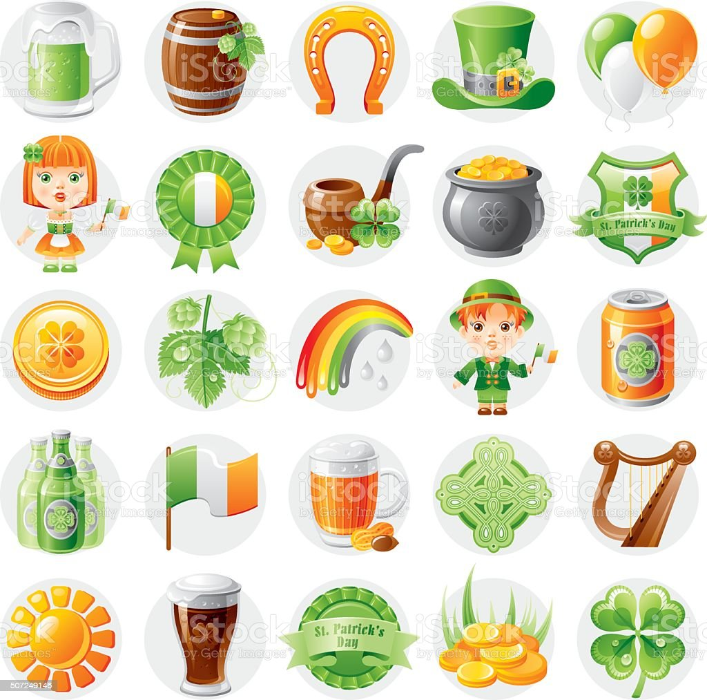 Irish traditional symbols icon set for St. Patrick's day vector art illustration
