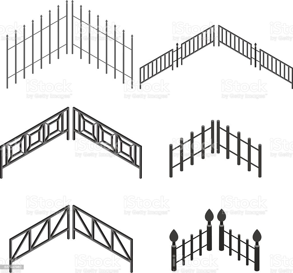 Iron fence in isometric. The metal fence. vector art illustration