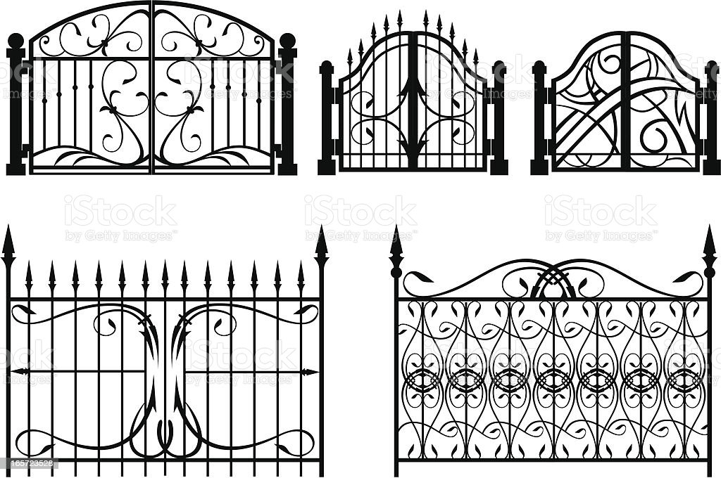 Iron Gate & fence vector art illustration