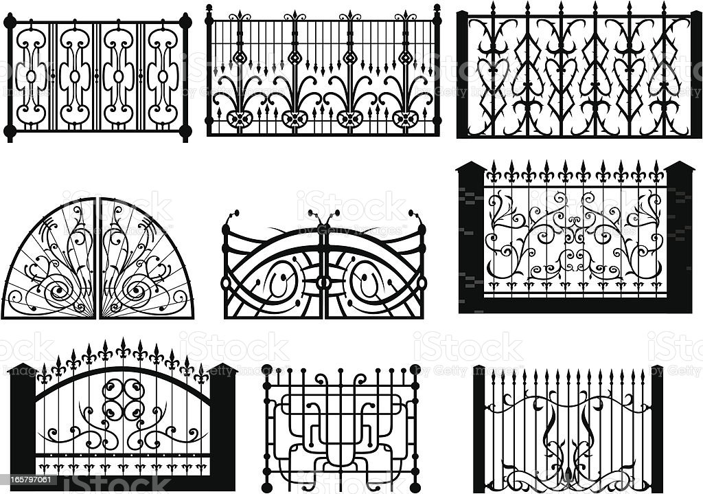 Iron Gate & fences2 vector art illustration