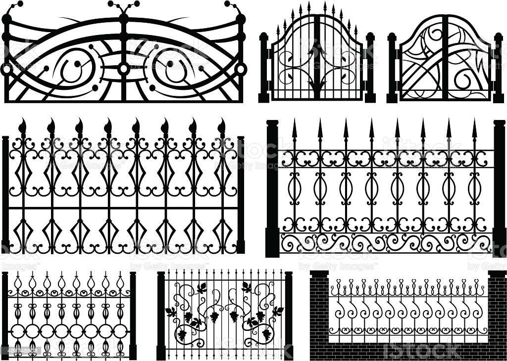 iron gate vector set vector art illustration