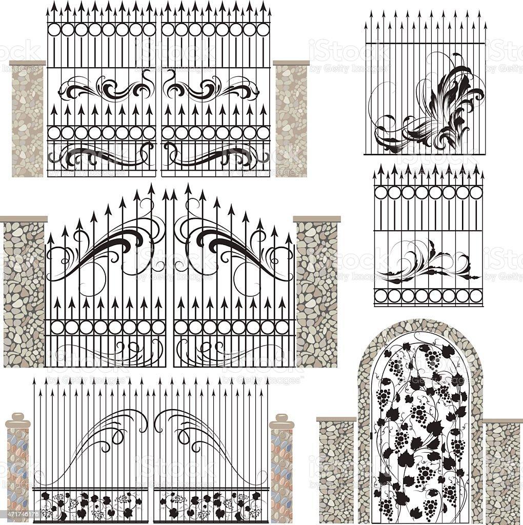iron gates vector art illustration