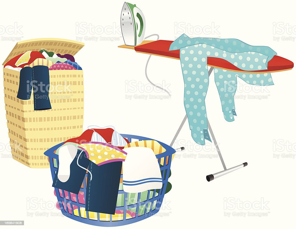 Ironing board, clothes hamper and washing basket vector art illustration