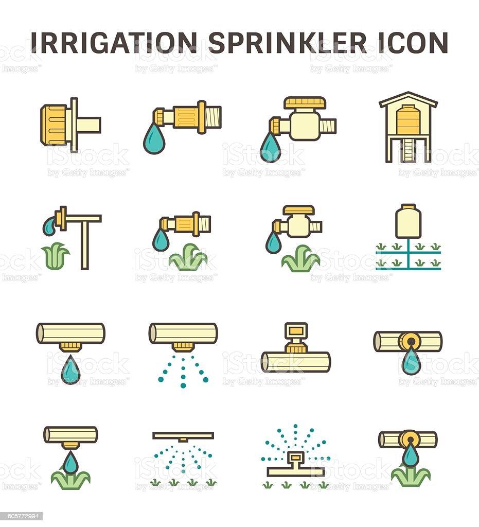 Irrigation sprinkler icon vector art illustration