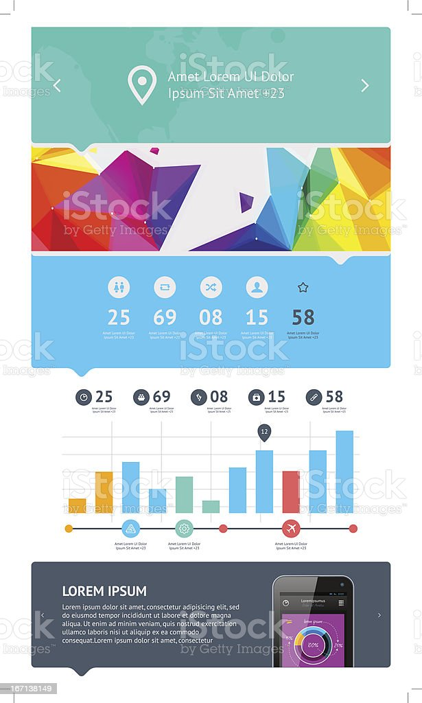 UI is a set components featuring the flat design royalty-free stock vector art