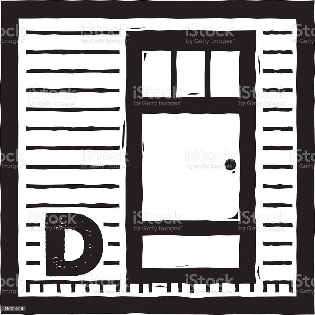 D is for Door vector art illustration