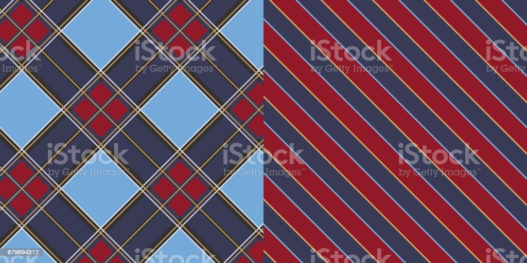 IS_Diagonal_Plaid_Stripe_Pattern_Set_Navy_Blue_Red vector art illustration