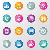 Islam Islamic Ramadan Arabian Religions Circle Color Icons