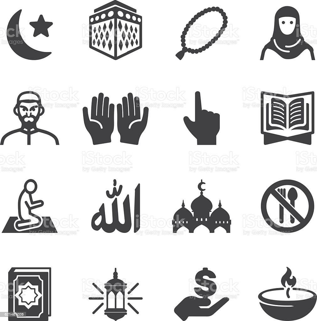 Islam Islamic Ramadan Arabian Religions Silhouette Icons | EPS10 vector art illustration