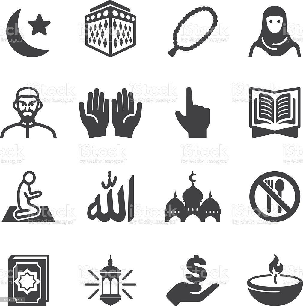 Islam Islamic Ramadan Arabian Religions Silhouette Icons | EPS10 vector art illustration