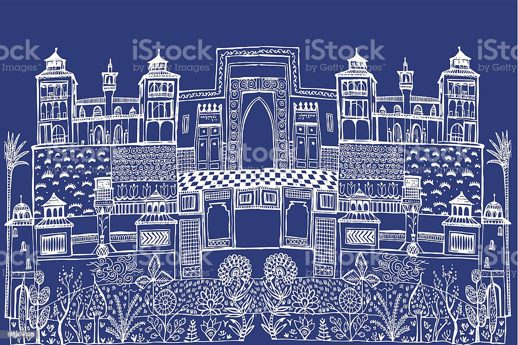 Islamic City Scape royalty-free stock vector art
