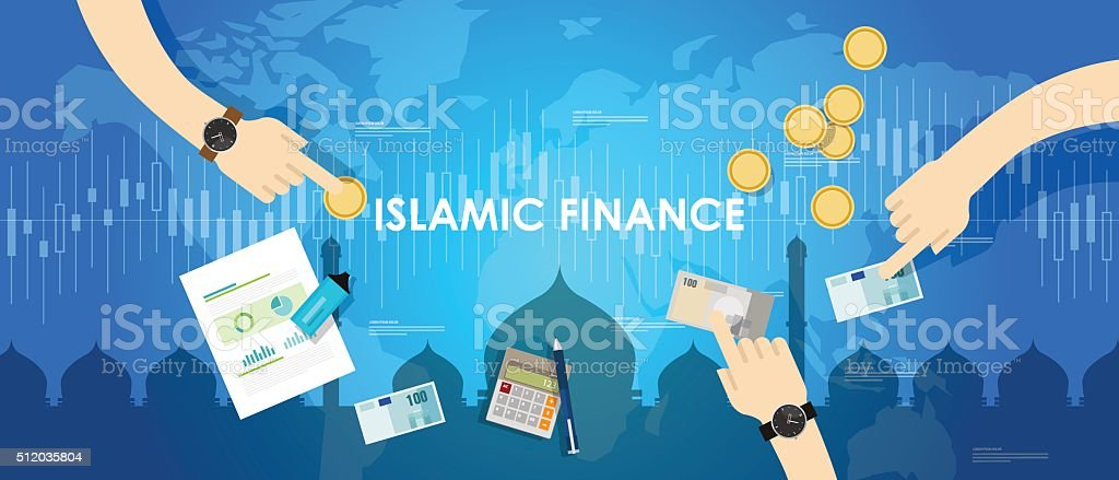 islamic finance economy islam banking money management concept sharia bank vector art illustration