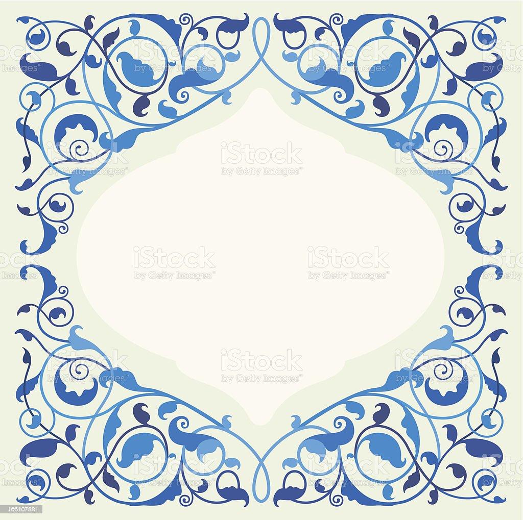 Islamic floral art in monochromatic blue royalty-free stock vector art