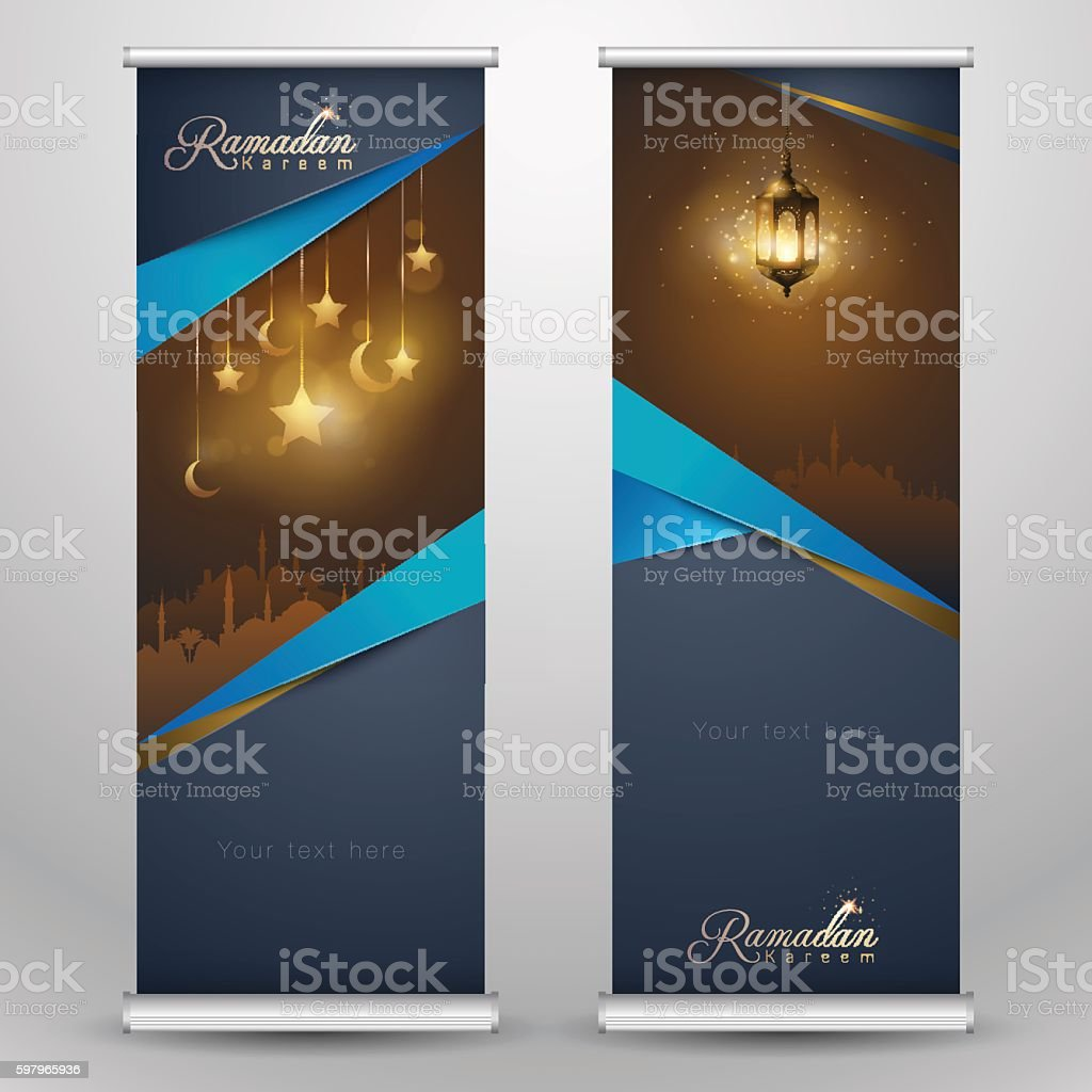 Design for roll up banner - Islamic Greeting On Roll Up Banner Ramadan Kareem Vertical Template Royalty Free Stock Vector Art