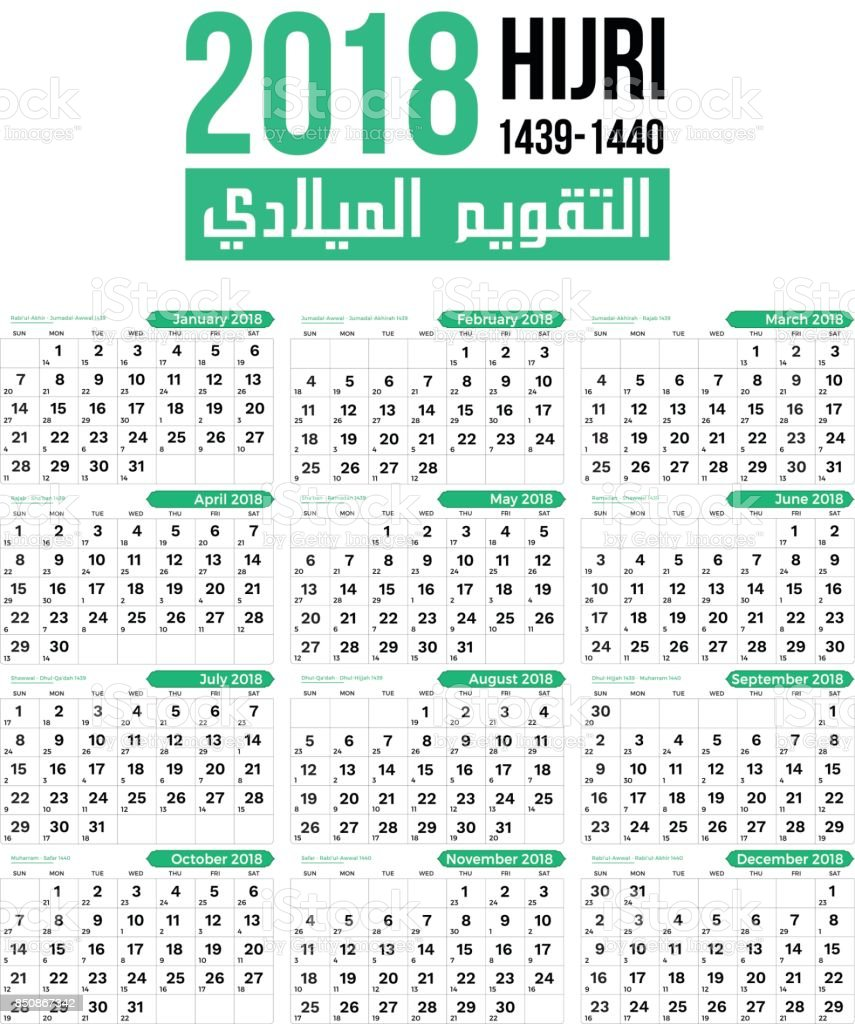 2018 Islamic Hijri Calendar Template Design Template stock vector ...