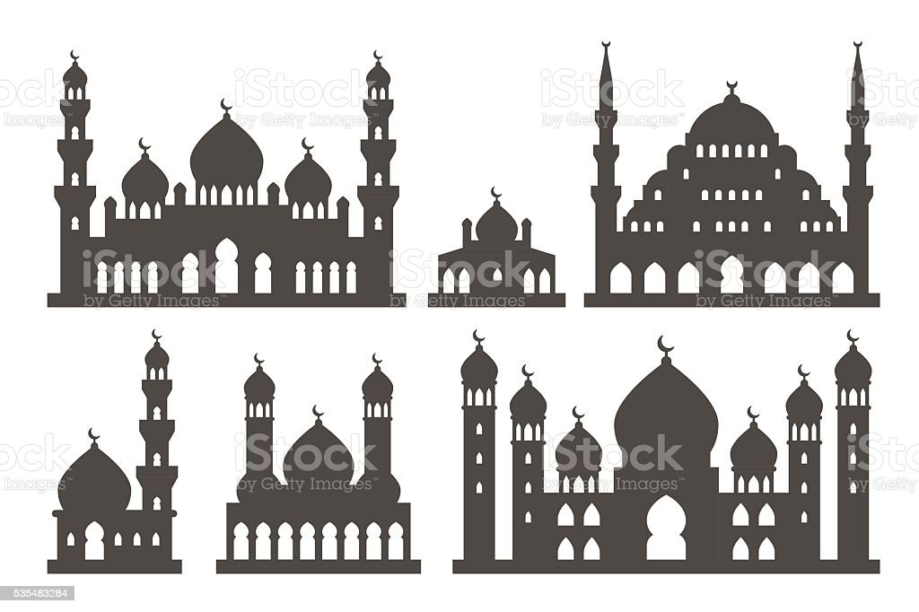 Islamic mosque silhouette set vector art illustration
