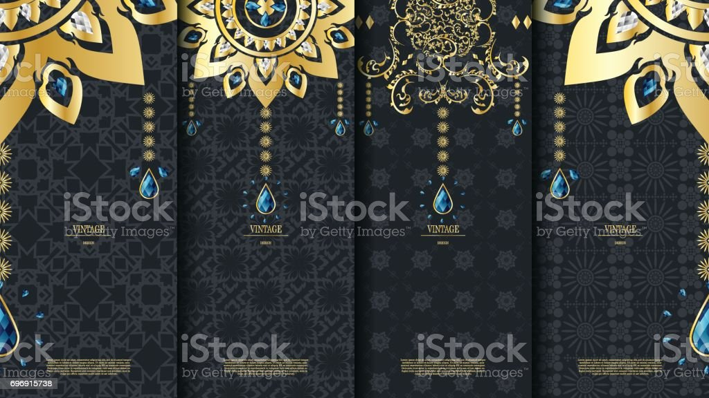 Islamic Pattern Element Concept Template With Emerald Vintage Dark