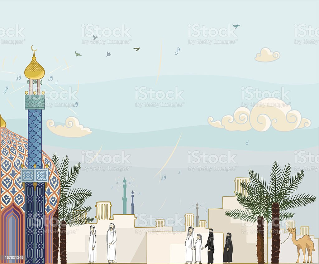 Islamic prayer time - Salah royalty-free stock vector art