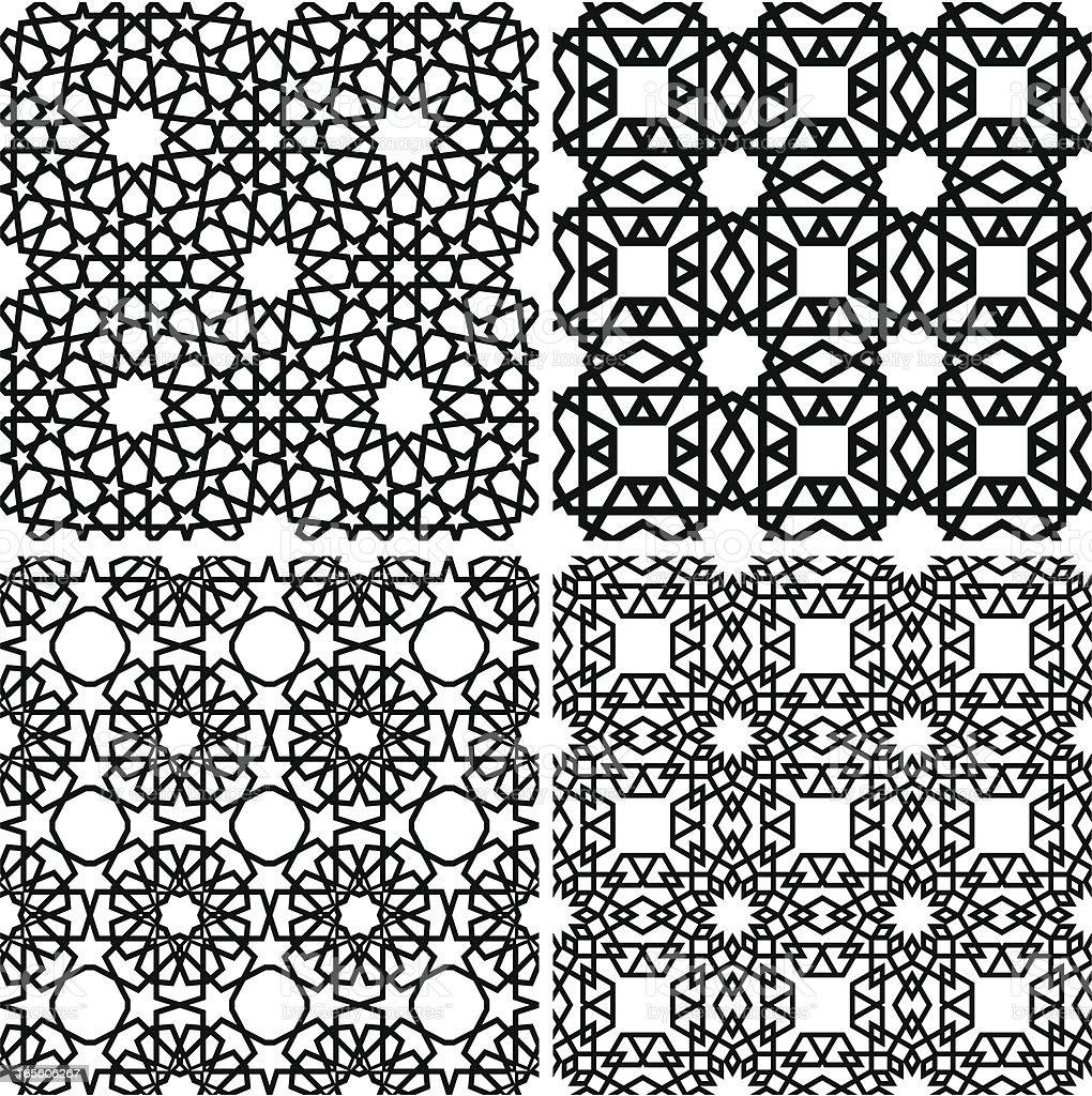 Islamic tiles IV vector art illustration