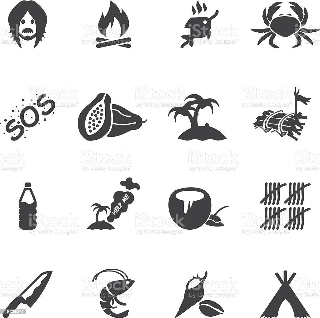 Island Alive Silhouette icons| EPS10 vector art illustration