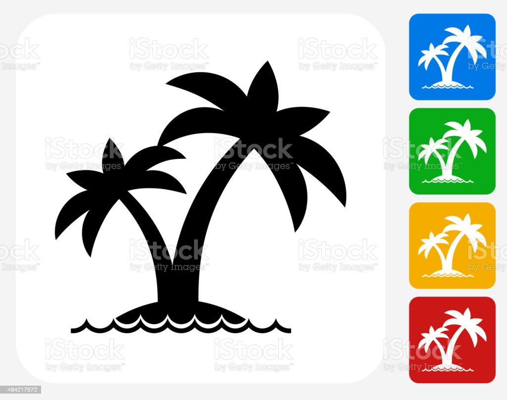 Island and Palms Icon Flat Graphic Design vector art illustration