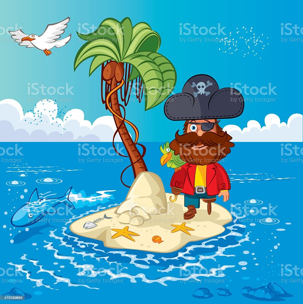 Island and Pirate captain vector art illustration