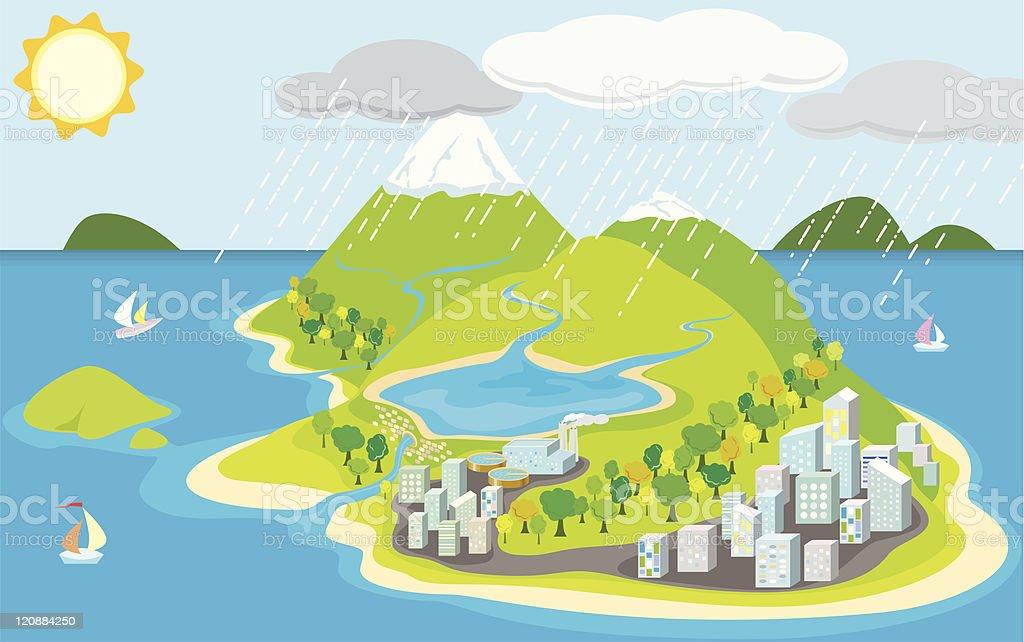 Island city vector art illustration