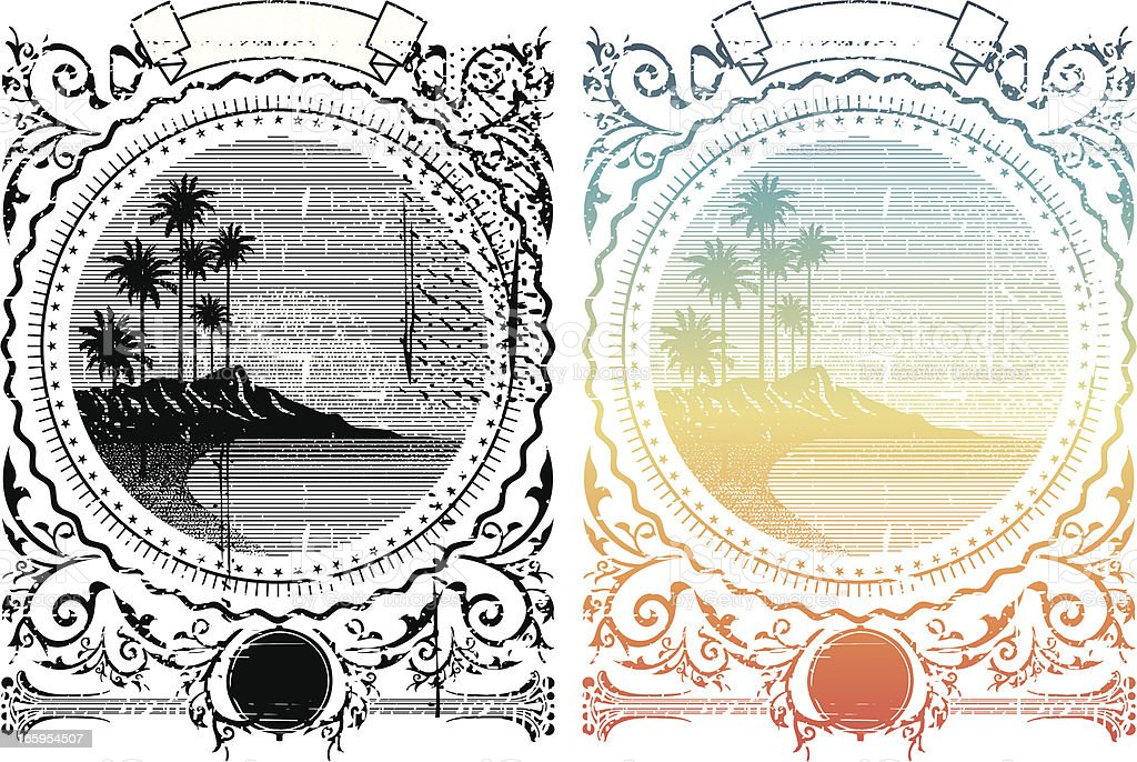Island frame photo with different effects vector art illustration