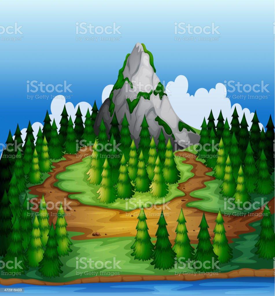 Island full of pine trees royalty-free stock vector art
