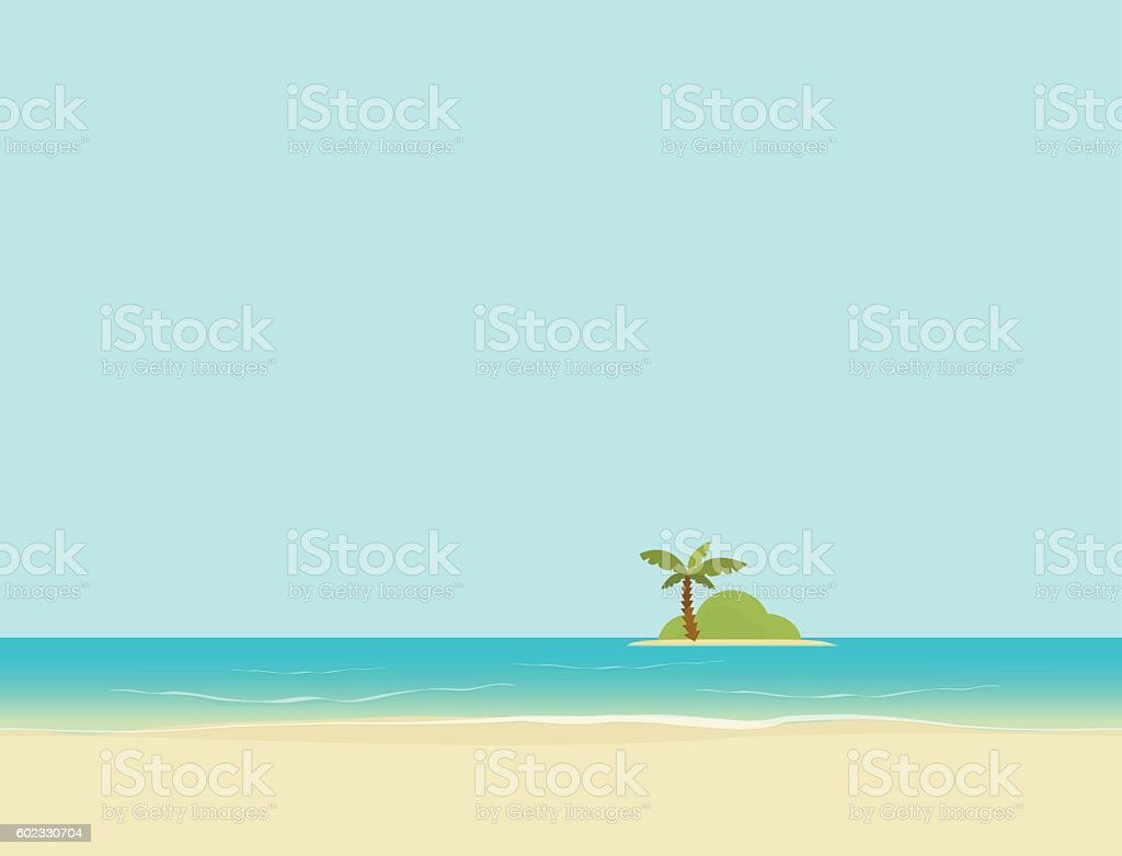 Island in sea or ocean from beach landscape vector illustration vector art illustration