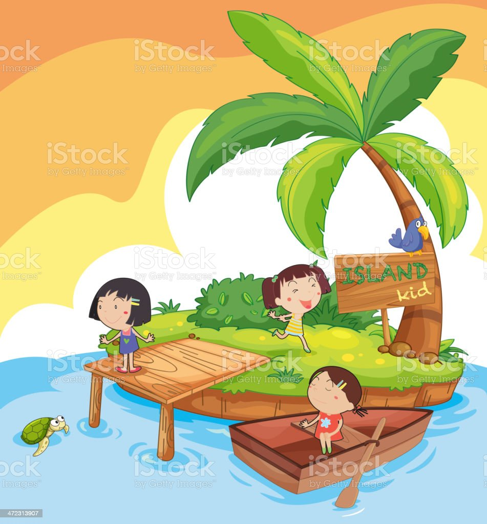 Island kids royalty-free stock vector art