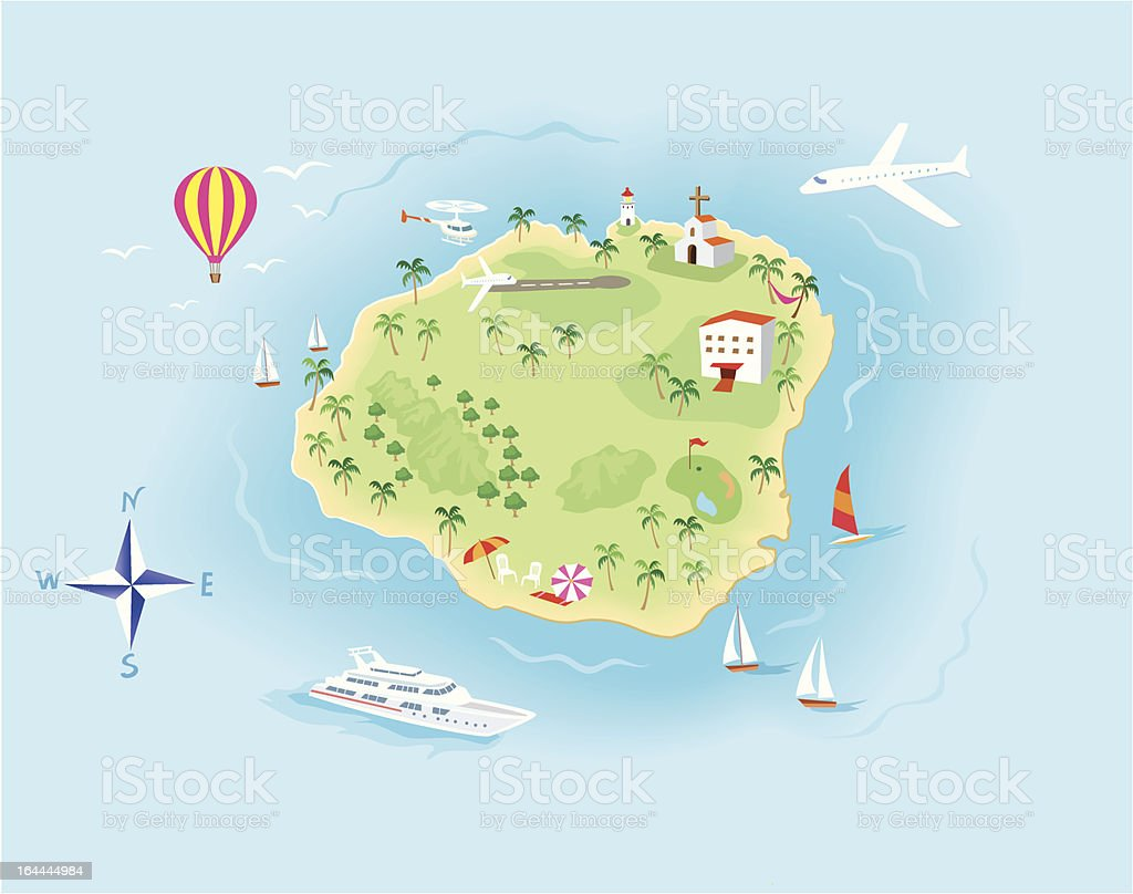 Island Map illustration with Icons vector art illustration