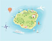 Island Map illustration with Icons