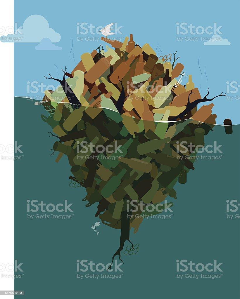Island of Pollution vector art illustration