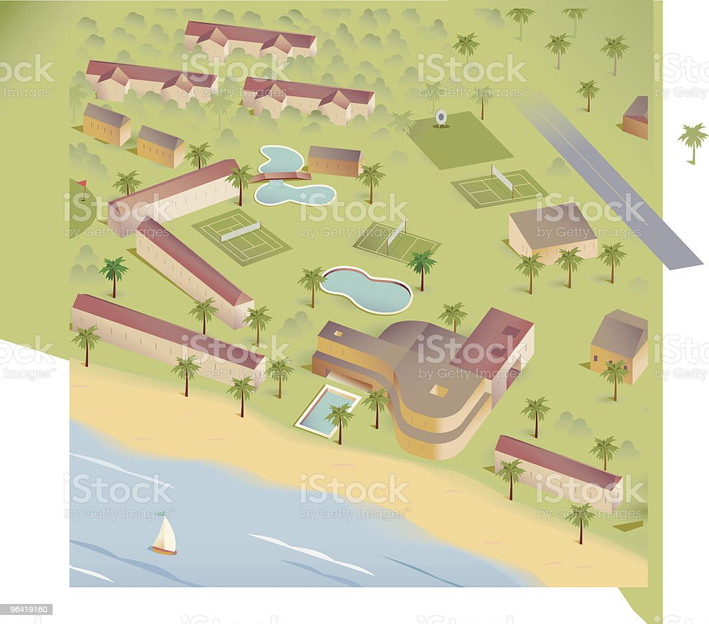 Island Resort Map royalty-free stock vector art
