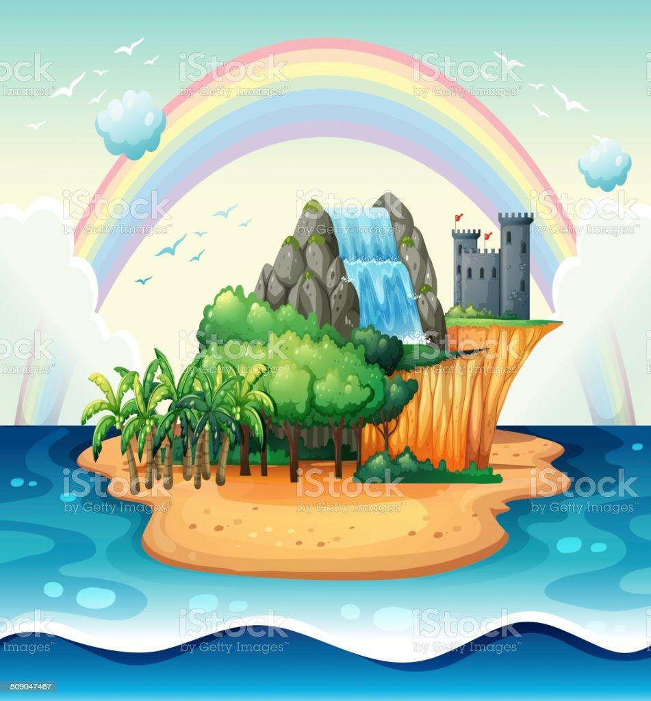 Island vector art illustration